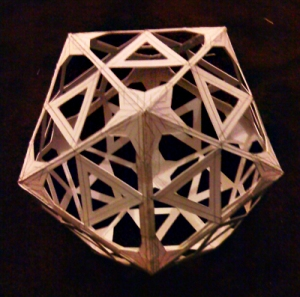 Icosahedron with simple pattern cut out of it